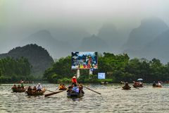 Boat trip to Perfume Pagoda, Vietnam. North of Vietnam. One of the best destinations in summer stock images