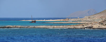 Boat trip to pirate island Gramvoussa  (Crete, Gre Stock Photo