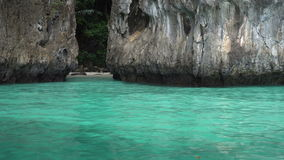 Boat trip to tropical islands, Thailand. Boat trip to tropical islands. View on beautiful turquoise sea and rocks stock video footage