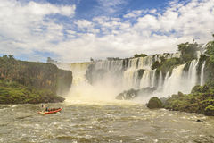 Boat Trip to Waterfalls at Iguazu Park Royalty Free Stock Photo