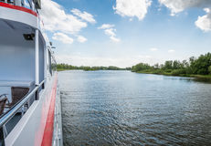 Boat trip on a tour boat in a Dutch nature reserve Stock Photos