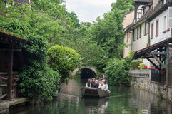Boat trip tourism on water at little Venise quarter Royalty Free Stock Image