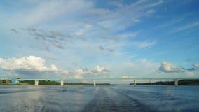 Boat trip under the bridge. Time Lapse stock video