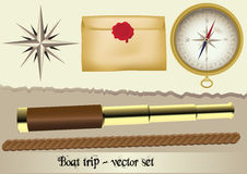 Boat trip - vector set Royalty Free Stock Photos