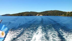 Boat trip. Wake of a boat in the ocean stock footage