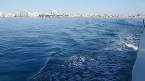 Boat trip on a yacht along the Mediterranean Sea stock footage
