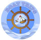 Boat trips billboard with ships and rudder Royalty Free Stock Photography
