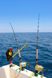 Boat trolling fishing gear downrigger and two rods. With golden reels Royalty Free Stock Image