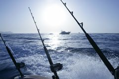 Boat trolling fishing on Mediterranean. Ibiza Balearic Islands Stock Images