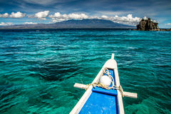 Boat and Tropical Apo island, Philippines Royalty Free Stock Images