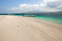 Boat on a tropical beach. Of the Gili Air Island in Indonesia, Asia Royalty Free Stock Photo
