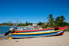 Boat on tropical beach Royalty Free Stock Photo