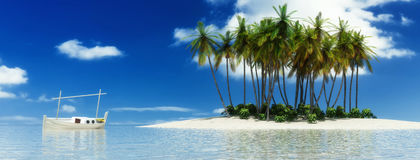 Boat and tropical island. 3d illustration of boat and tropical island Royalty Free Stock Photo
