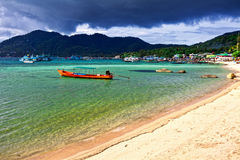 Boat in the tropical sea. Royalty Free Stock Photo