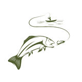 boat and trout art Stock Image