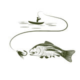 Boat and trout art Stock Photos