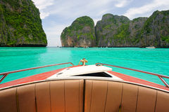 Boat in turquoise sea of Maya bay Stock Images