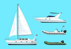 Free Boat Types Semi Flat RGB Color Vector Illustrations Set Stock Photography - 183316082