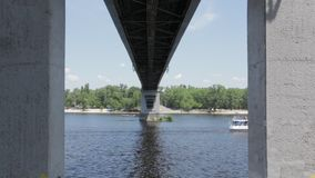 Boat Under the Bridge stock footage