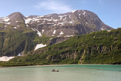Boat under Chugach National Forest Royalty Free Stock Photo