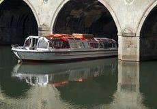 Boat under Pulteney Bridge Bath. River Cruises Bath under Pulteney Bridge Royalty Free Stock Photos