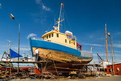 Boat under repair Royalty Free Stock Photography