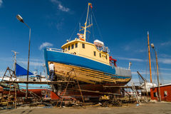 Boat under repair Royalty Free Stock Image