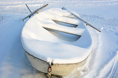 Boat under the snow Stock Images