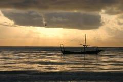 Boat under sunset zanzibar Royalty Free Stock Photos