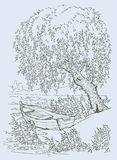 Boat under the willow. Vector drawing. Old boat on the lake under the swaying branches of a willow Stock Images