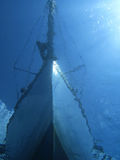 Boat from underwater. A sail boat shotted from underwater
