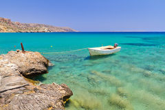 Boat on the Vai beach. Boat on the blue lagoon of Vai beach, Crete Royalty Free Stock Photography