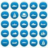 Boat vector icons set blue, simple style. Boat icons set blue. Simple illustration of 25 boat vector icons for web Stock Image