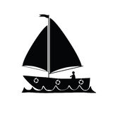 Boat vector silhouette Stock Images