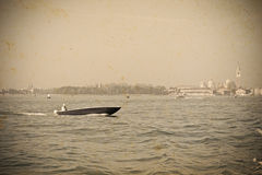 Boat in Venice in vintage tone Royalty Free Stock Images