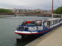 Boat. Very nice boat pn the river in lyon france Royalty Free Stock Photo