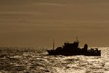 Boat. Vessel Fisheries Ship Brown Backlighting Royalty Free Stock Photography