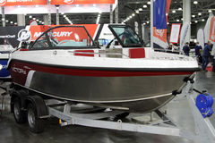 Boat Victory 500 open in the exhibition Crocus Expo in Moscow. Royalty Free Stock Photography