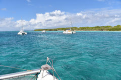 Boat view on crystal clear water of caribbean sea. View of crystal clear Caribbean sea from boat Stock Image