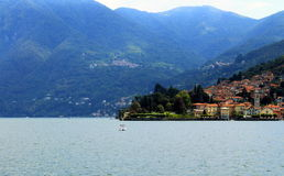 On the boat. View of Varenna from the boat, on Lake Como Royalty Free Stock Image