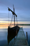 Boat. Viking ship nice quiet morning in a fjord Royalty Free Stock Photos