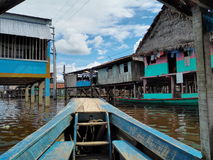 Boat village. Water boat belen peru stock photography