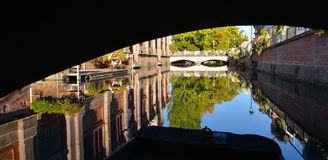 Boat while visit Colmar, France or Little Venice. Royalty Free Stock Photo