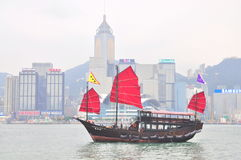 A boat for visitors to travel in the sea of Hong Kong Royalty Free Stock Image