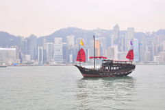 A boat for visitors to travel in the sea of Hong Kong Stock Image