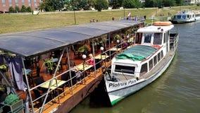 Boat on Vistola river - Krakow - Poland stock video