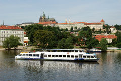 Boat on Vltava River. Photo of scenery view in the Prague, boat on the Vltava River Royalty Free Stock Photo