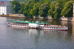 Boat on Vltava River Stock Photography