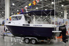 Boat VYMPEL 7000 in the exhibition Crocus Expo in Moscow. Stock Image