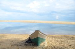 Boat wait go to sea. Boat on sand beach Stock Photography